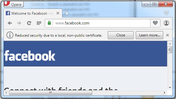 The warning when intercepting a request to facebook.