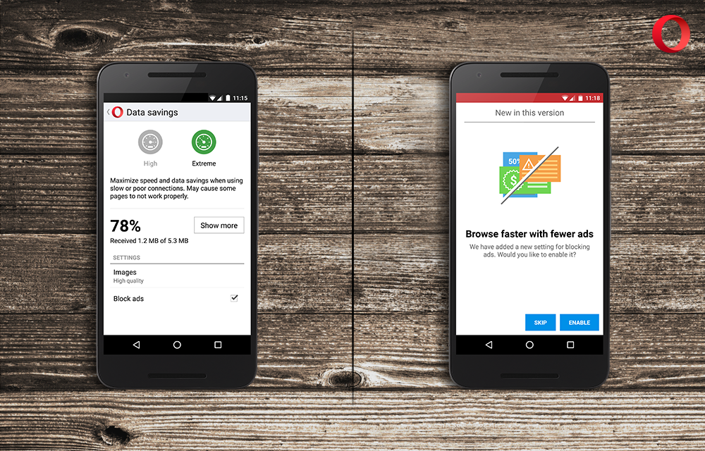 ad blocker for Android in Opera Mini loads web pages faster