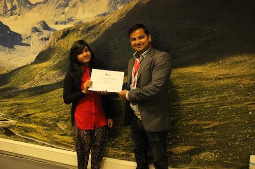 iSchool winner Silma Subah with Opera Director of Partner Marketing Arjun Bhatt