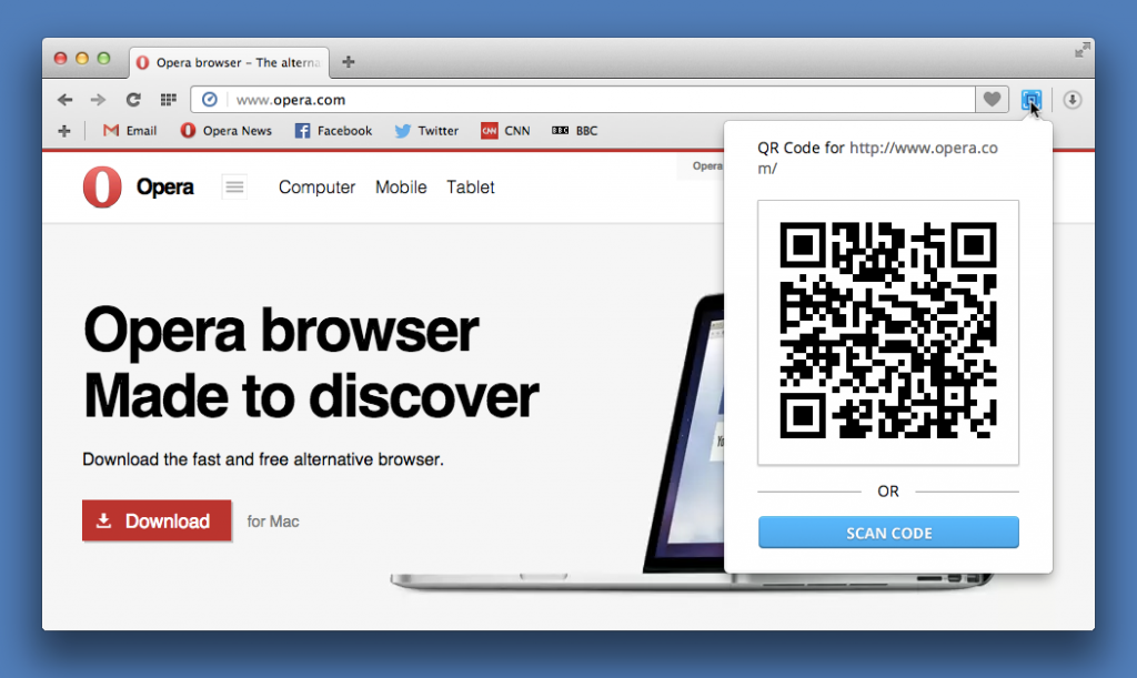 Generate QR codes for any site you visit