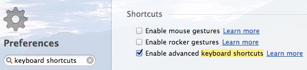 Enabling advanced keyboard shortcuts in Opera browser