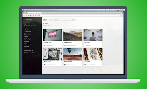 Try the new Opera bookmarks today and bookmark by interest