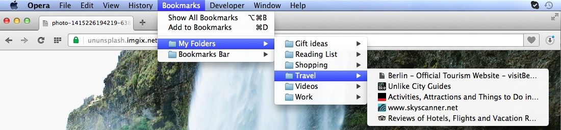 Hierarchical bookmark view in Opera