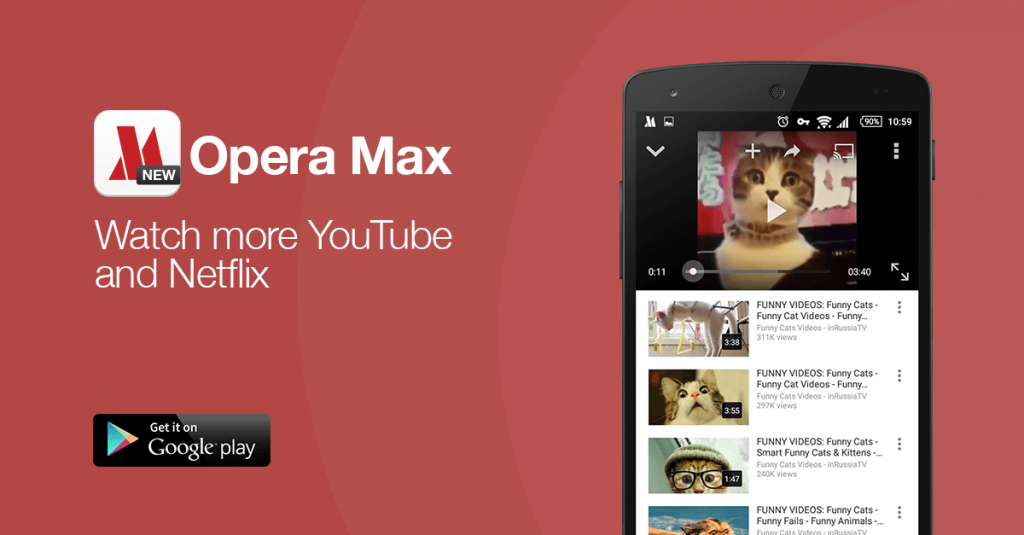 opera max video data savings netflix youtube android