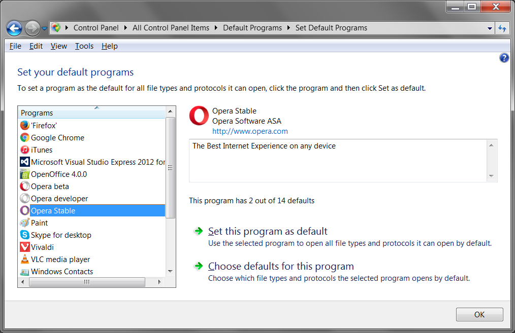 Set your default browser on Windows in the Control Panel