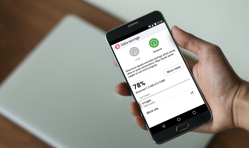 Opera Mini data savings ad blocking