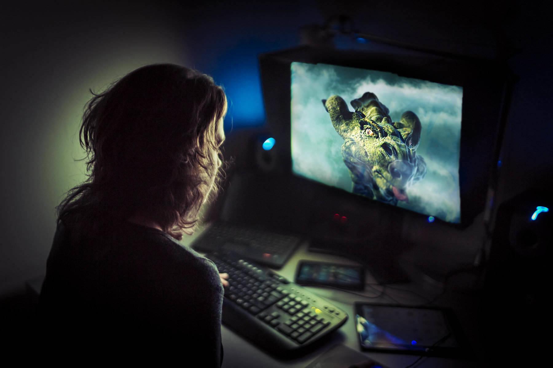 Girl playing browser game