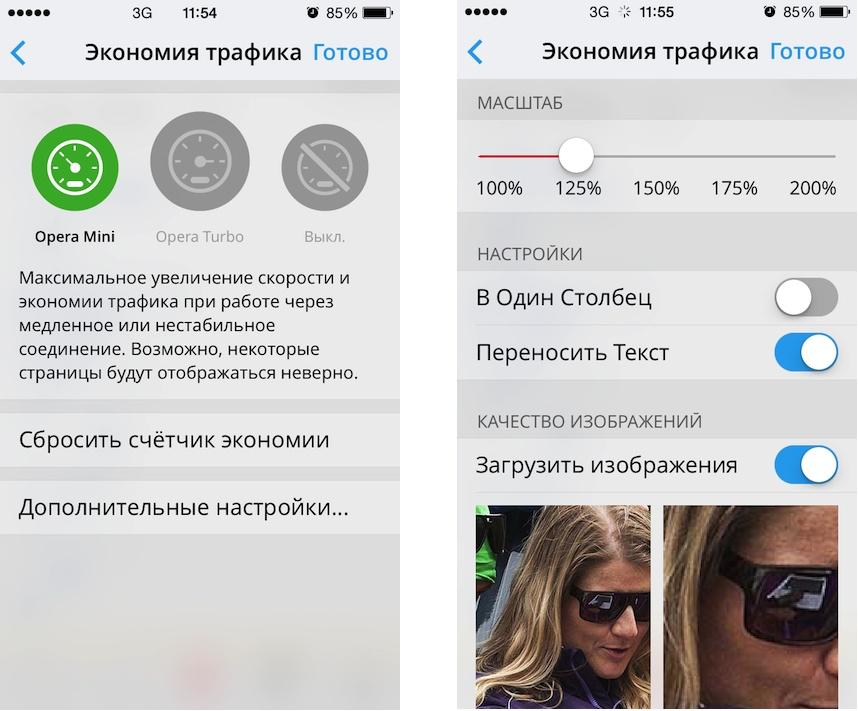 Браузер Opera Mini для iOS - дополнительные настройки