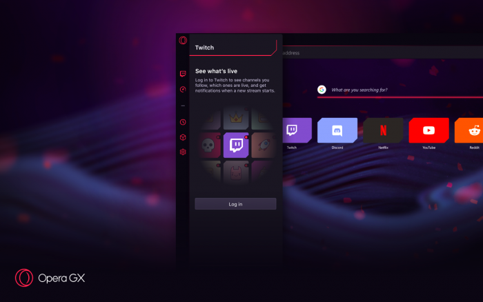 Opera GX гейминг браузер Twitch