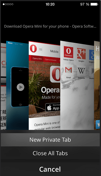 Opera Mini tab management