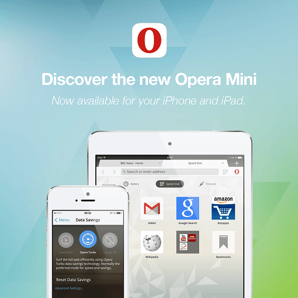 Opera Mini for iOS front face