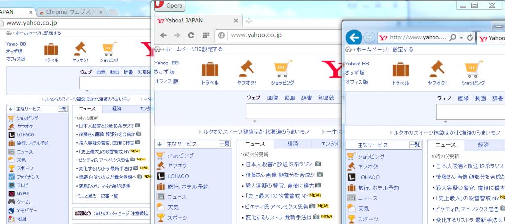 Google Chrome - Opera -IE on 125%