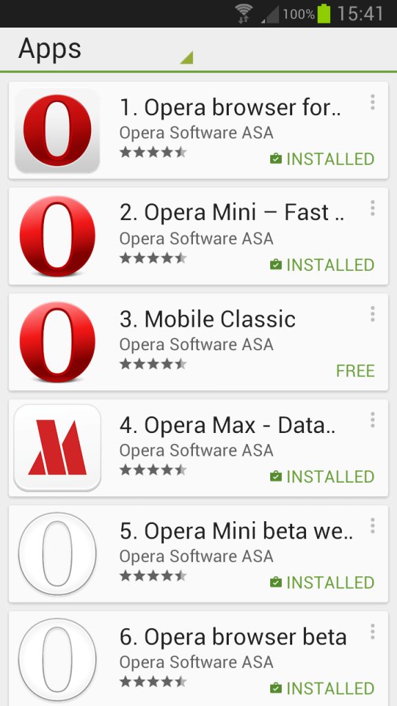 Opera at Google play