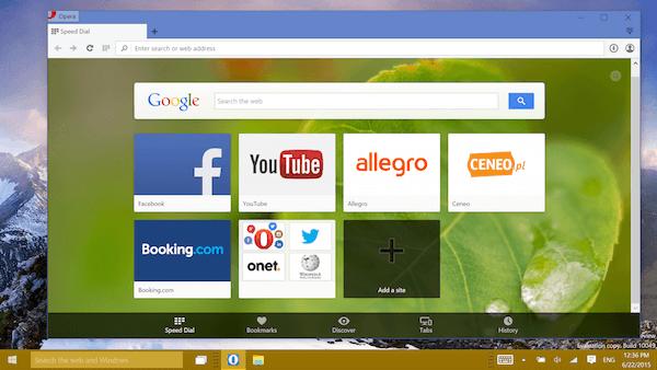 Windows 10 Preview Opera