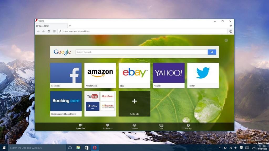 Windows 10 代わりのブラウザ Opera