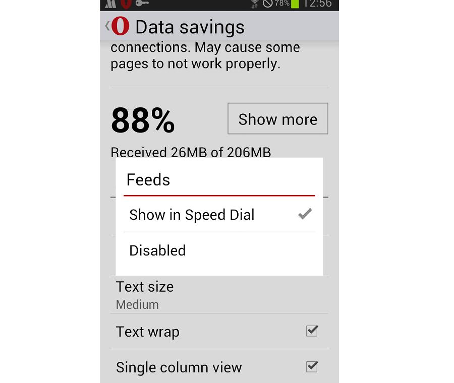 Opera Mini 11 オプション