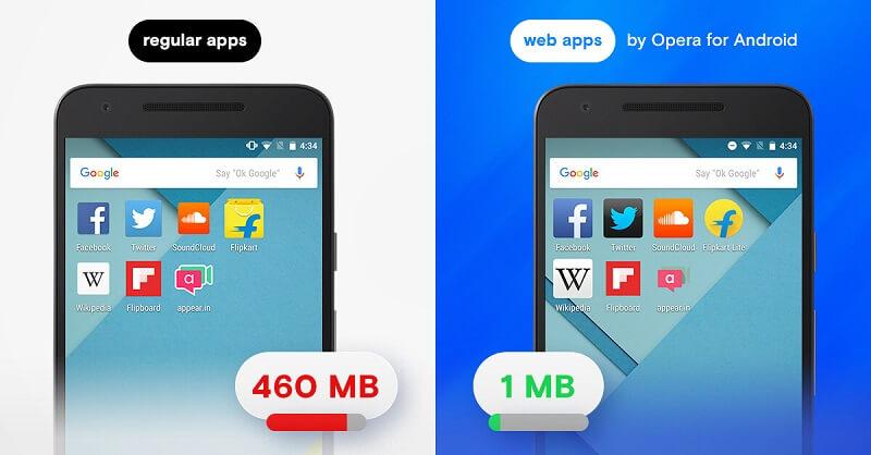 Thumbnail for 'Android 用 Opera – ウェブアプリにして保存領域を節約しよう'