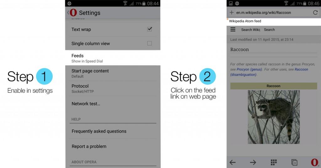 добавление RSS-ленты в Opera Mini для Android