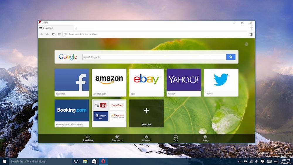 Opera - альтернативный браузер для Windows 10