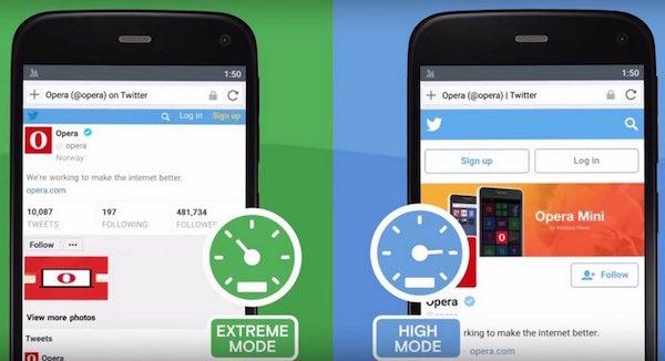 Ahorro de datos con el modo alto en Opera Mini