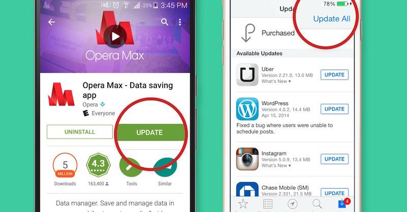actualizar tus aplicaciones en Android y iOS