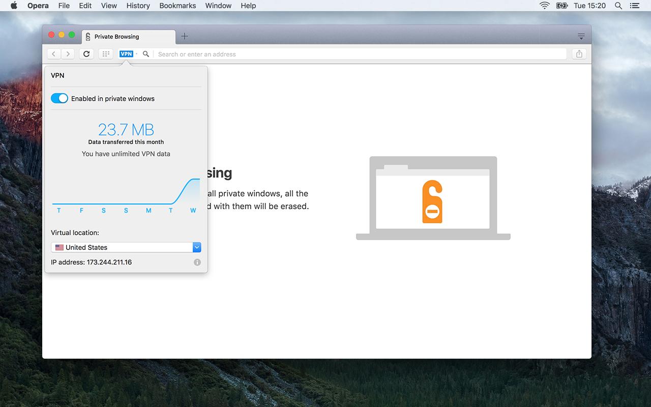 imagen: VPN gratuito en Opera browser
