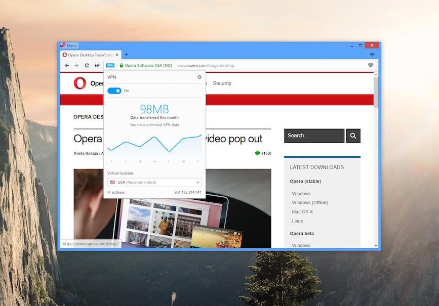 Bild: Kostenloses VPN im Browserfenster