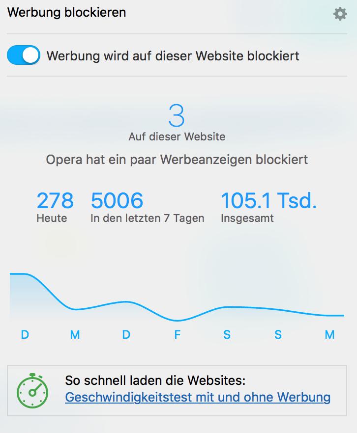 Werbung blockieren - Integrierter Ad Blocker in Opera für Computer