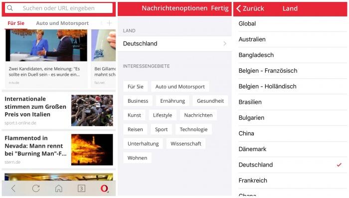 Nachrichtenfeed in Opera Mini anpassen
