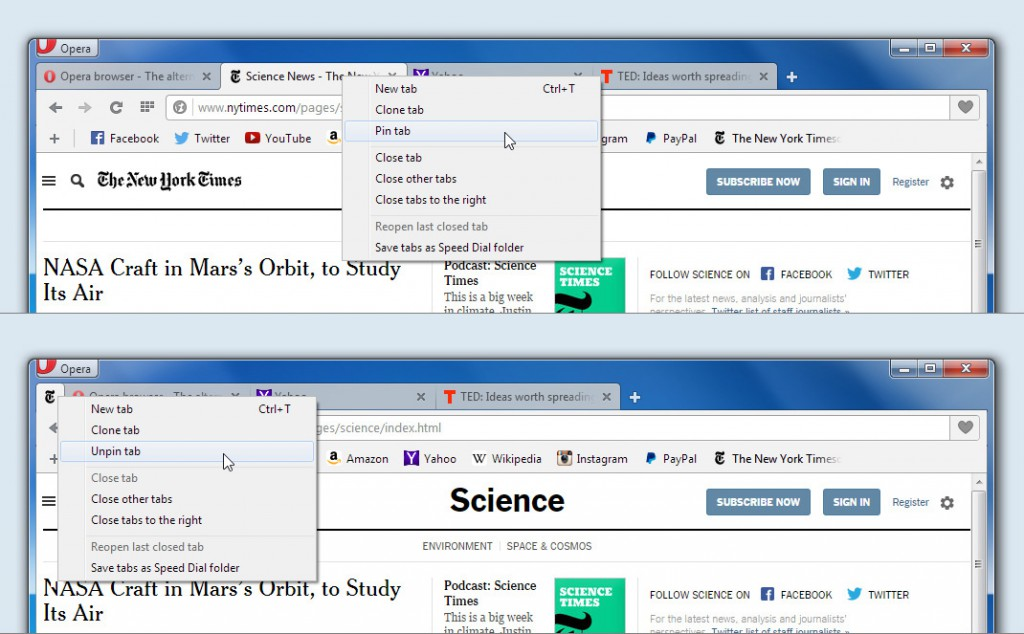 Take care of important tabs with Opera for computers.