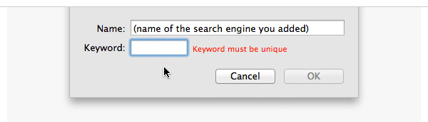 Add a keyword shortcut for the search engine