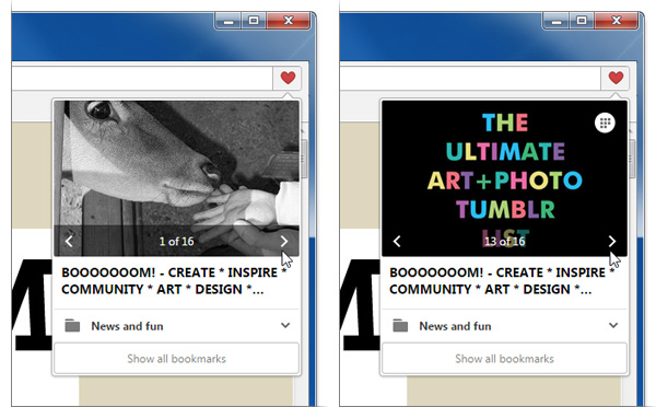 Choosing thumbnails for bookmarks in Opera