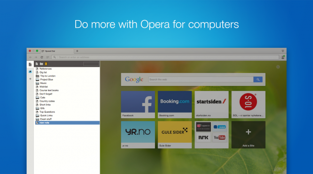 Write notes in Opera browser