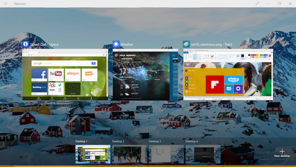 Windows 10 preview: Multiple desktops in desktop mode, tablet mode is also available