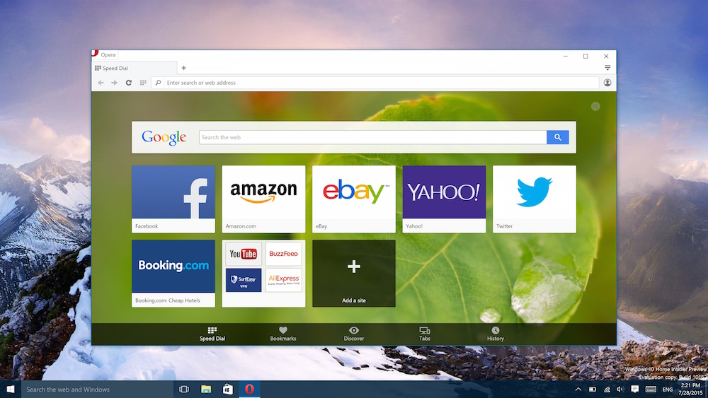 Opera browser for Windows 10