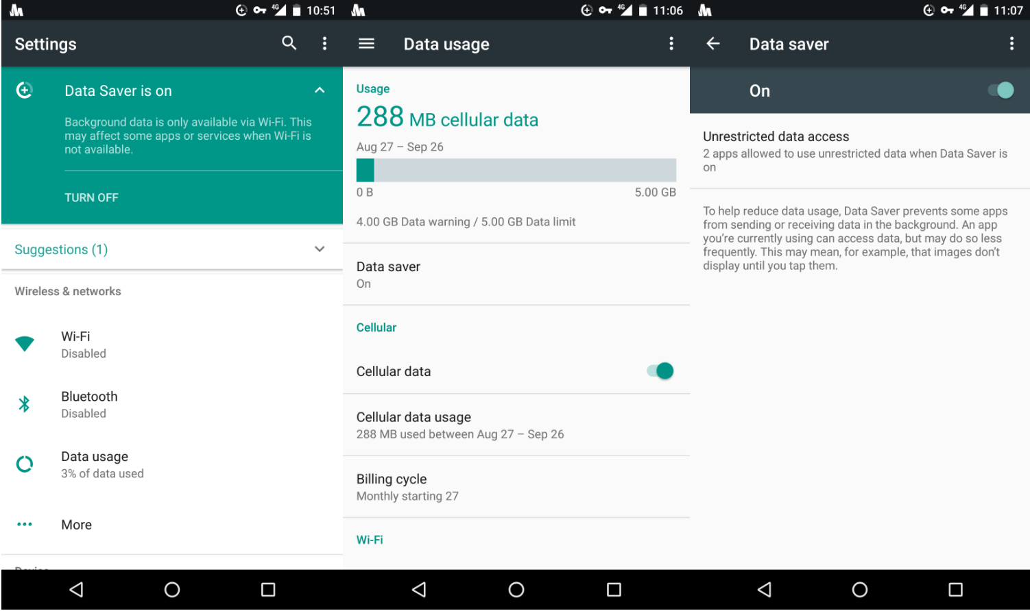 Data Saver in Android Nougat settings