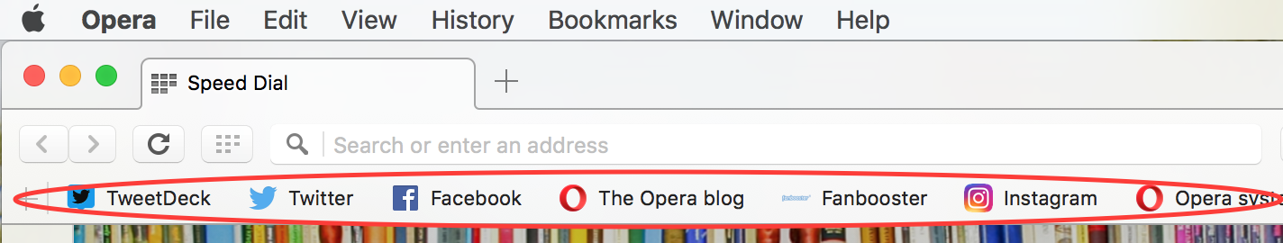 Browser settings - Bookmarks bar