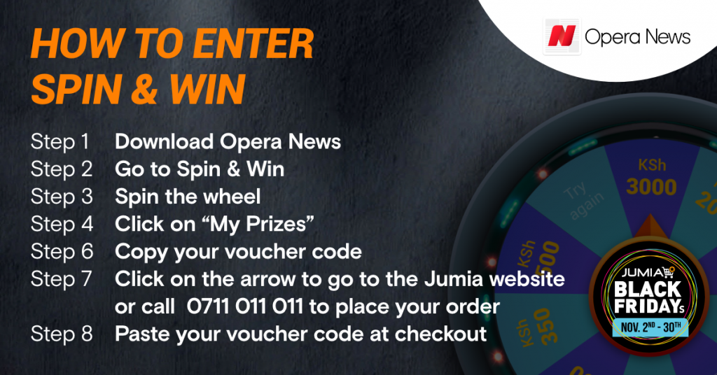 Download Opera News and become a winner with Spin & Win as