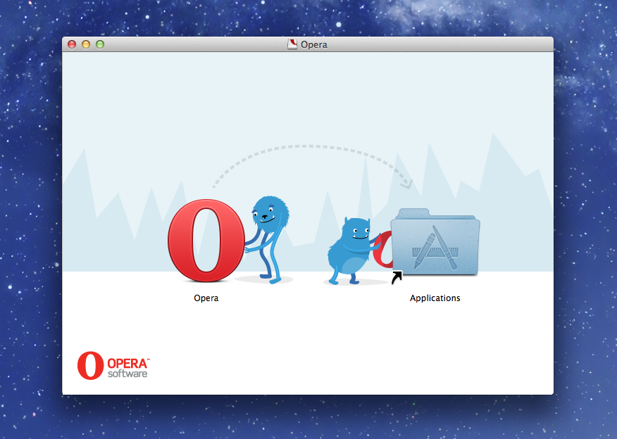 Disk image background for Opera on Mac – Let Out the Monsters