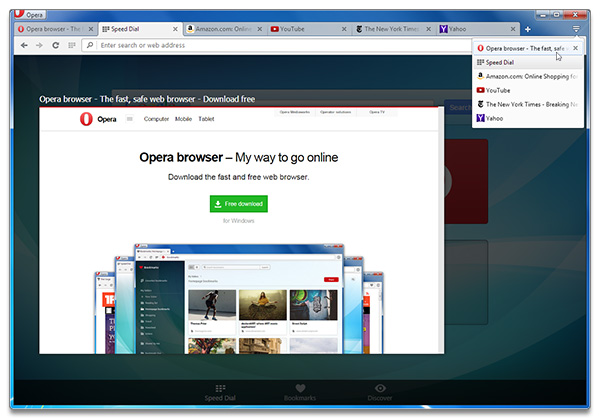 Tab menu and tab preview in Opera 27 for computers