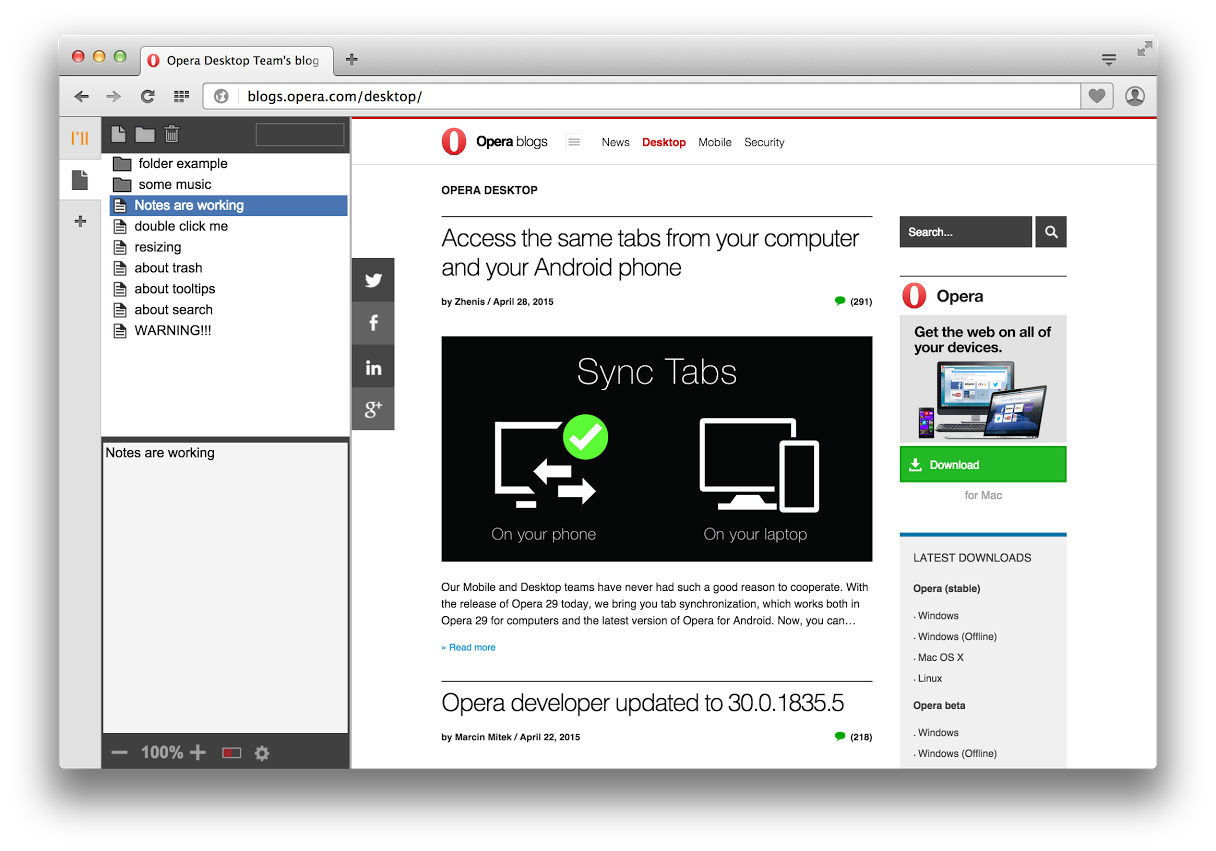 Sidebar and tab improvements in Opera 30 beta - Blog | Opera Desktop