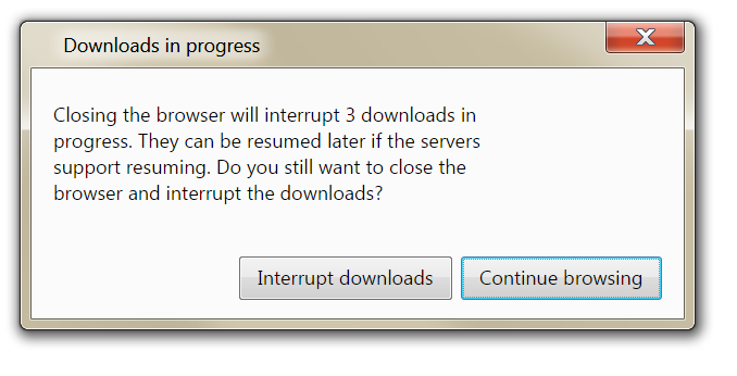 Downloads in Progress dialog