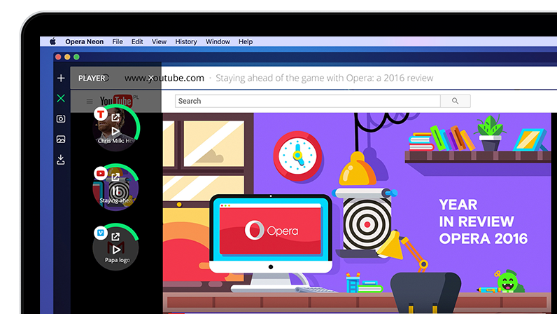 opera neon browser of the future video player popout sidebar UI