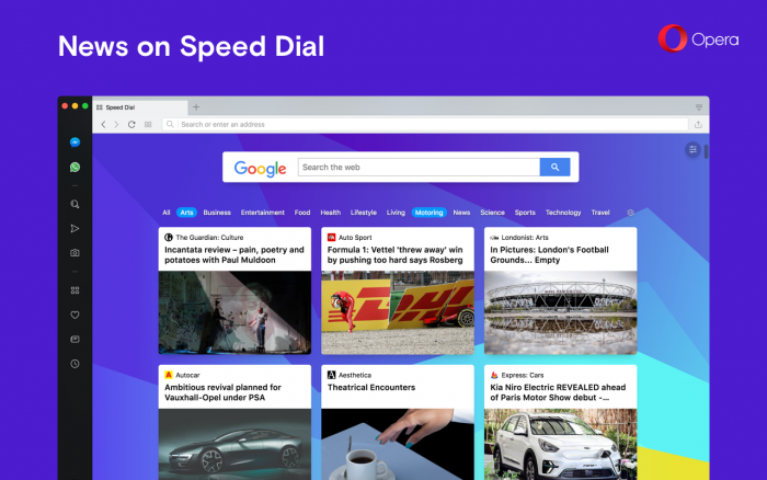 Opera 54 introduces news articles on Speed Dial and a simplified