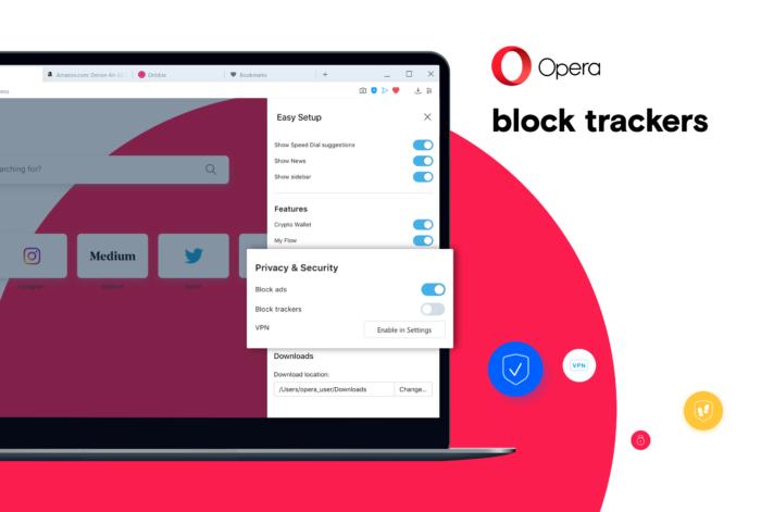 Privacy- und Security-Optionen im Opera-Browser.