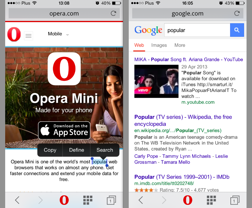 Easier Online Reading With Opera Mini For Iphone And Ipad