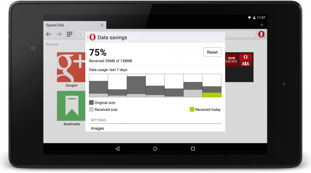 Data savings in Opera Mini for Android beta