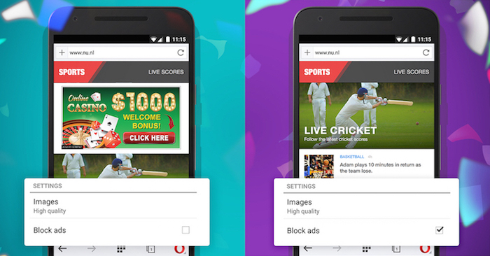Opera Mini for Android now comes with a free ad blocker, built right inside the browser