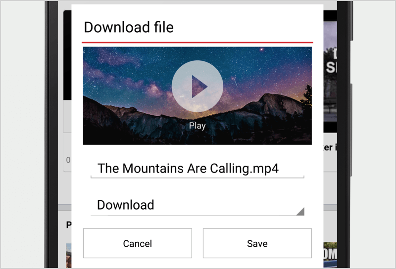 Image of video download feature in Opera Mini for Android