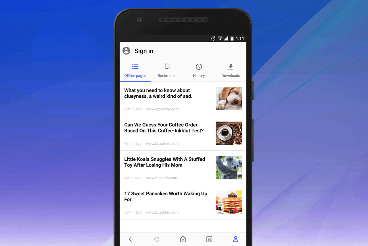 Opera for Android offline pages
